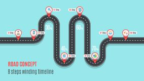 Road concept timeline, infographic chart, flat style. Asphalt road. Color Swatches control Royalty Free Stock Image