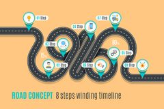 Road concept timeline, infographic chart, flat style. Asphalt road. Color Swatches control Stock Photos