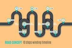 Road concept timeline, infographic chart, flat style. Asphalt road. Color Swatches control Stock Image