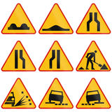 Road Condition Warning Signs In Poland Stock Images