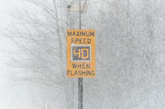 Road Conditions - Maximum Speed Limit Sign Stock Photo