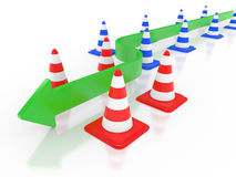 Road cone and arrow Royalty Free Stock Image