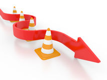 Road cone and arrow Stock Photography