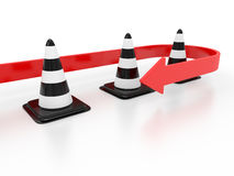 Road cone and arrow Royalty Free Stock Images