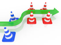 Road cone and arrow Royalty Free Stock Photo