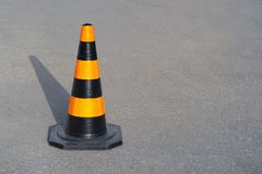 Road cone on the asphalt. Red caps on the road royalty free stock photo