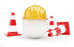 Road cone hardhat Stock Photo