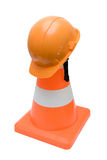 Road cone and helmet Royalty Free Stock Images