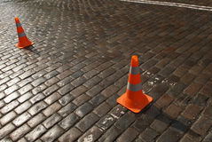 Road Cone on road. Royalty Free Stock Images