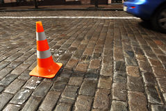 Road Cone on road. Stock Photos