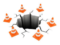 Road cones around crack Royalty Free Stock Photo