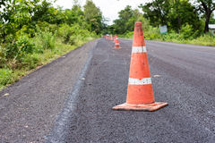Road cones. Road construction cones on an asphalt surface Royalty Free Stock Image