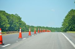 Road cones on highway Royalty Free Stock Images