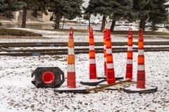 Road cones near train tracks stock photography