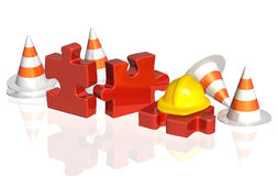 Road cones, part of puzzle and hat Royalty Free Stock Images