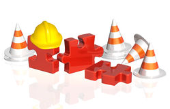 Road cones, part of puzzle and hat Stock Photos