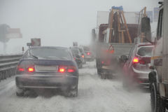 Road congestion due to snowfall Stock Photo
