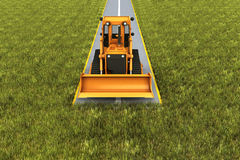 Road consrtuction. Paver machine on road in the grass. Concept render Stock Photos
