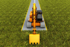 Road construction. Excavator on the road in the grass. Concept render Royalty Free Stock Photography
