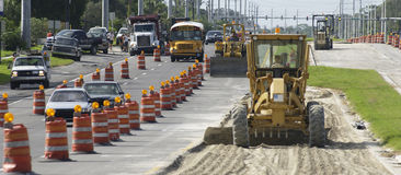 Road construction. Roadwork and construction in Florida, America Royalty Free Stock Photography
