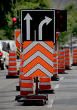 Road Construction. With signs and pylons Royalty Free Stock Photography