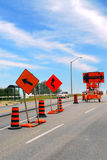 Road construction. Signs and cones on a city street Royalty Free Stock Photo
