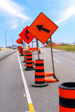 Road construction. Signs and cones on a city street stock image