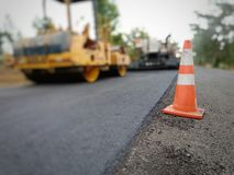 Road construction. Asphalt road construction in Thailand, blurred images stock photography