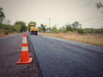 Road construction. Asphalt road construction in Thailand, blurred images stock photo