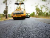 Road construction. Asphalt road construction in Thailand, blurred images stock photos