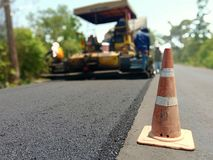 Road construction. Asphalt road construction in Thailand, blurred images royalty free stock photography