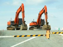 Road Construction Backhoes stock images