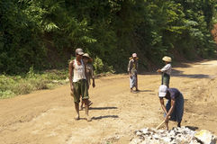 ROAD CONSTRUCTION IN BURMA ( MYANMAR ). Royalty Free Stock Images