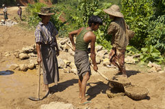 ROAD CONSTRUCTION IN BURMA ( MYANMAR ). Stock Photos