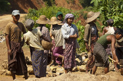 ROAD CONSTRUCTION IN BURMA ( MYANMAR ). Stock Images