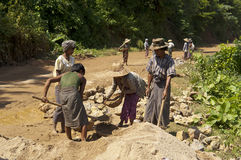 ROAD CONSTRUCTION IN BURMA ( MYANMAR ). Stock Image