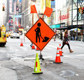 Road construction in the city. Road construction in Times Square Royalty Free Stock Photos