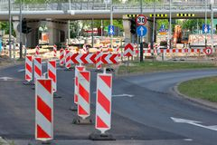 Road construction in the city.  royalty free stock photo