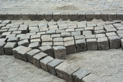 Road Construction with Cobblestone Stock Photo