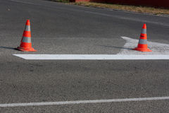 Road construction cones Royalty Free Stock Images