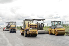 Road construction equipment. Road construction machinery during construction Royalty Free Stock Photography