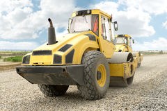 Road construction equipment. Road construction machinery during construction Stock Image