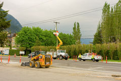 Road construction at harrison hot springs, canada Royalty Free Stock Photo
