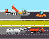 Road construction. Heavy machinery is involved in the construction of the road. Roadwork. Vector illustration Royalty Free Stock Image