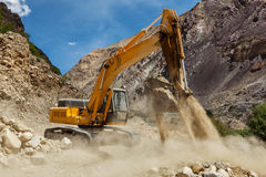 Road construction in Himalayas Stock Photo