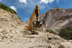 Road construction in Himalayas Stock Image