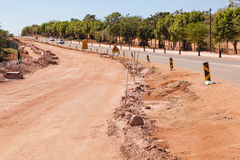 Road Civil Construction Improvements. Road Widening civil construction improvements in local suburb royalty free stock images