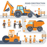 Road construction infographic elements vector flat design. Construction, workers, excavator, roller, bulldozer. Road construction infographic elements vector Royalty Free Stock Photography