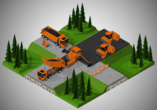 Road construction and machinery involved. Royalty Free Stock Images