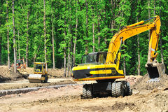 Road construction. Machinery tools on site Royalty Free Stock Photos